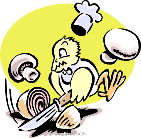 chef bird chopping onions and mushrooms Royalty Free Vector Clip Art illustration anim1580