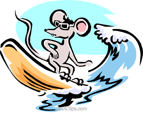 mouse cartoon surfing mouse Royalty Free Vector Clip Art illustration anim1581