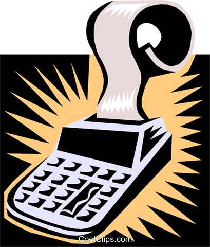 calculator/adding machine Royalty Free Vector Clip Art illustration busi1371