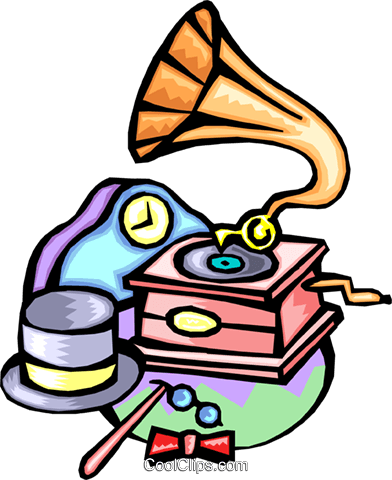 gramophone with 19th century motif Royalty Free Vector Clip Art illustration ente0002
