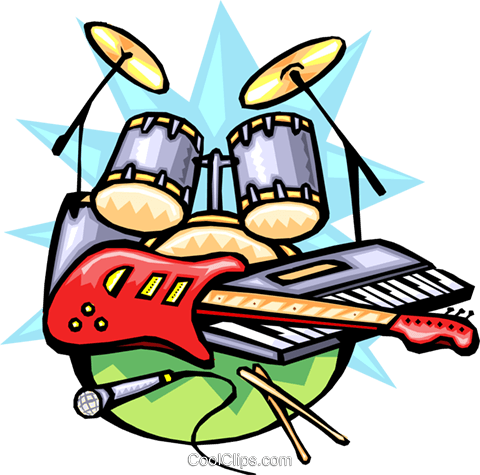 rock n' roll musical instruments Royalty Free Vector Clip Art illustration ente0003