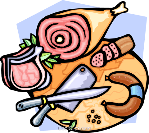 Butcher's block with various meats Royalty Free Vector Clip Art illustration food0836