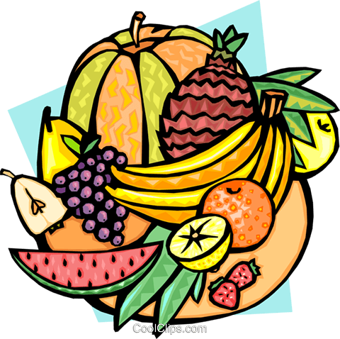 Melons and tropical fruits Royalty Free Vector Clip Art illustration food0839
