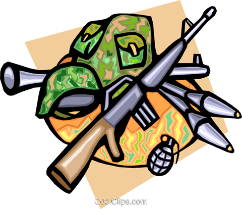 Army weapons Royalty Free Vector Clip Art illustration indu0796