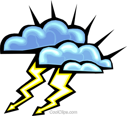lightning clouds Royalty Free Vector Clip Art illustration natu0740