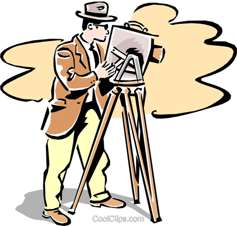 old-fashioned filming Royalty Free Vector Clip Art illustration peop2361