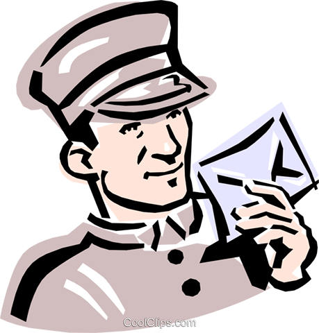 old-fashioned mailman Royalty Free Vector Clip Art illustration peop2367