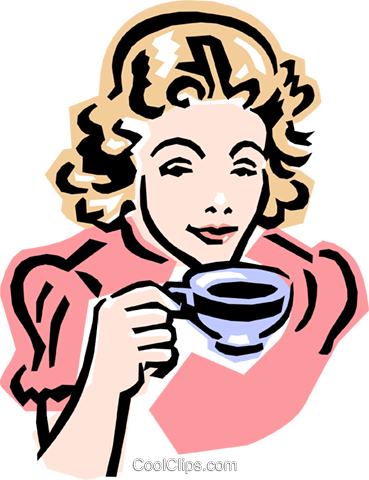 old-fashioned woman with tea Royalty Free Vector Clip Art illustration peop2368