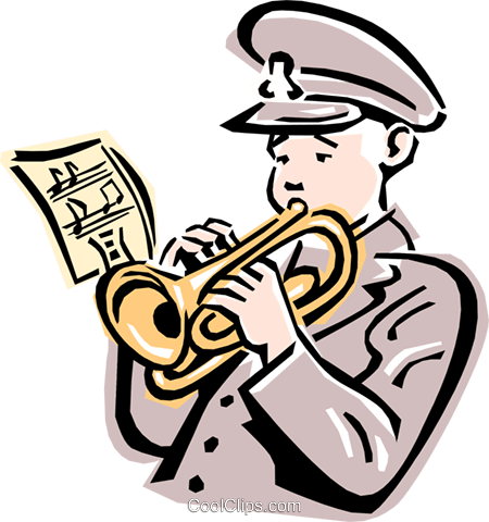 salvation army trumpet player Royalty Free Vector Clip Art illustration peop2369