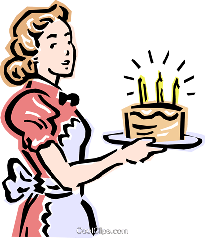 Mom and birthday cake Royalty Free Vector Clip Art illustration peop2370