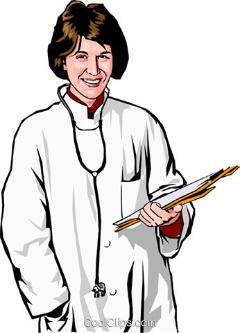 female doctor with clipboard Royalty Free Vector Clip Art illustration peop2385