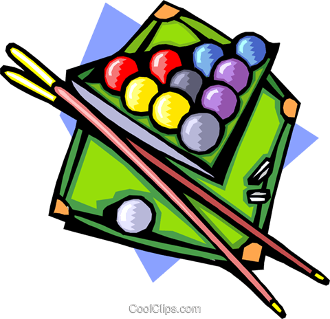 Pool table with ball and cues Royalty Free Vector Clip Art illustration spor0254