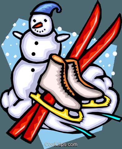 Winter Schneemann Skaten Skifahren Vektor Clipart Bild
