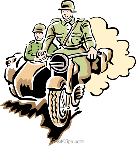 motorcycle in war Royalty Free Vector Clip Art illustration tran0827