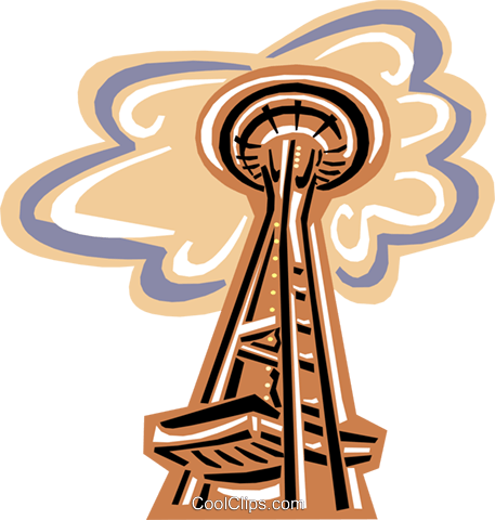Seattle Space Needle Royalty Free Vector Clip Art illustration arch0434