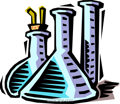 beakers and test tubes Royalty Free Vector Clip Art illustration busi1403