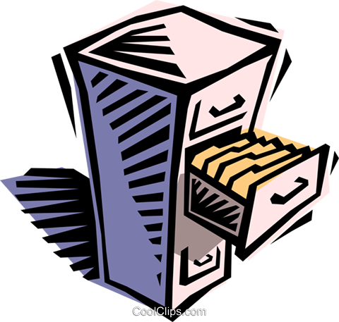 filing cabinet Royalty Free Vector Clip Art illustration busi1406