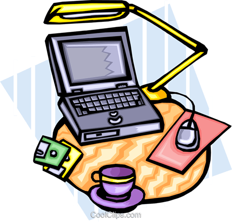 laptop computer on desk Royalty Free Vector Clip Art illustration busi1425