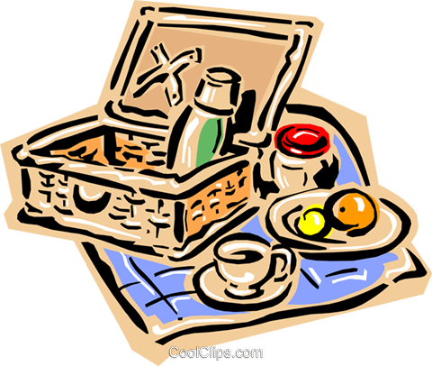 Picnic basket Royalty Free Vector Clip Art illustration food0847