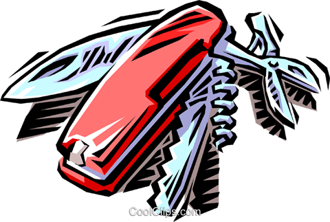 Swiss army knife Royalty Free Vector Clip Art illustration hous1189