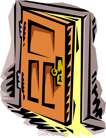 door ajar Royalty Free Vector Clip Art illustration hous1193