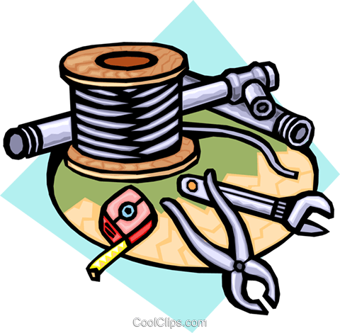 wire, pipe, and tools Royalty Free Vector Clip Art illustration indu0805