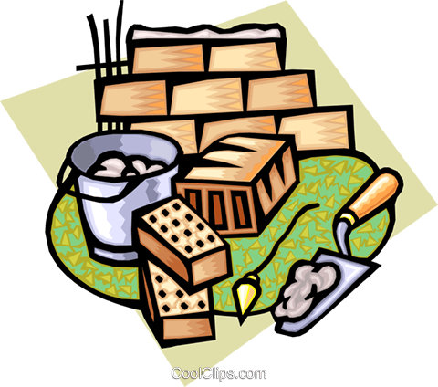 bricklayer tools Royalty Free Vector Clip Art illustration indu0806
