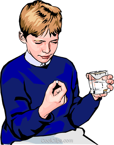 boy taking pill - one Royalty Free Vector Clip Art illustration peop2389