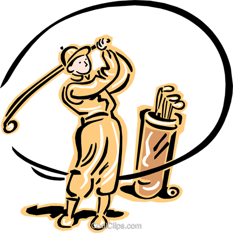 old-fashioned golfer Royalty Free Vector Clip Art illustration peop2398