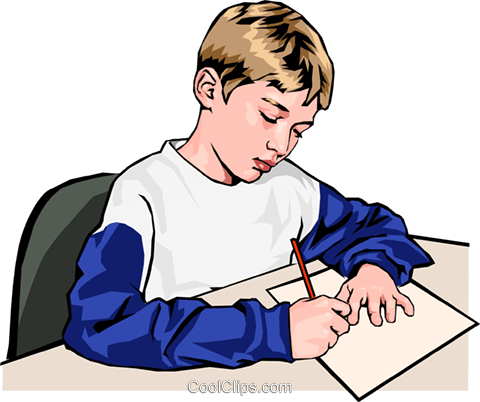 Boy writing in class Royalty Free Vector Clip Art illustration peop2407
