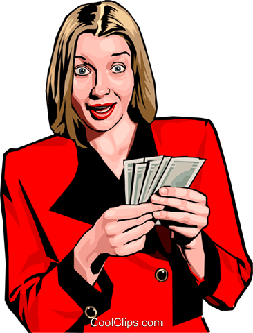 woman with cash Royalty Free Vector Clip Art illustration peop2408