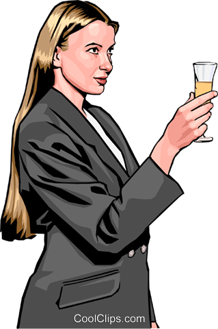 woman toasting with champagne Royalty Free Vector Clip Art illustration peop2409