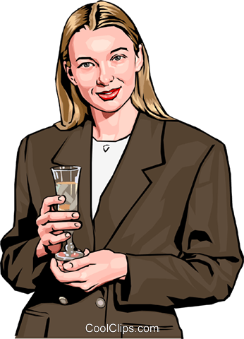 woman holding champagne Royalty Free Vector Clip Art illustration peop2411