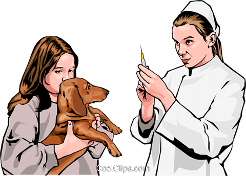 vet preparing to inject dog Royalty Free Vector Clip Art illustration peop2419