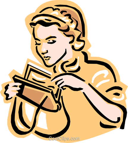 old-fashioned women with purse Royalty Free Vector Clip Art illustration peop2432