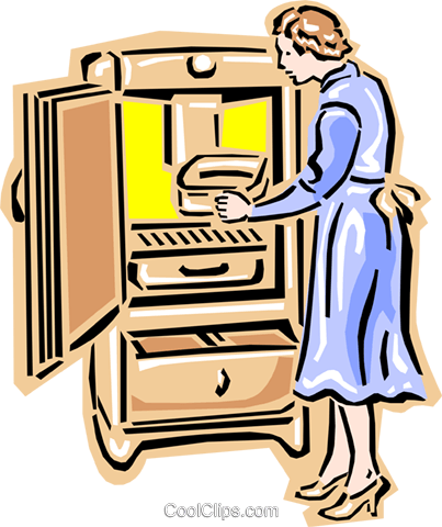 old-fashioned woman with freezer chest Royalty Free Vector Clip Art illustration peop2433