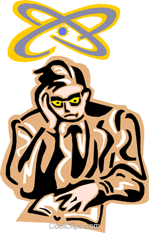 pondering the atom Royalty Free Vector Clip Art illustration peop2434