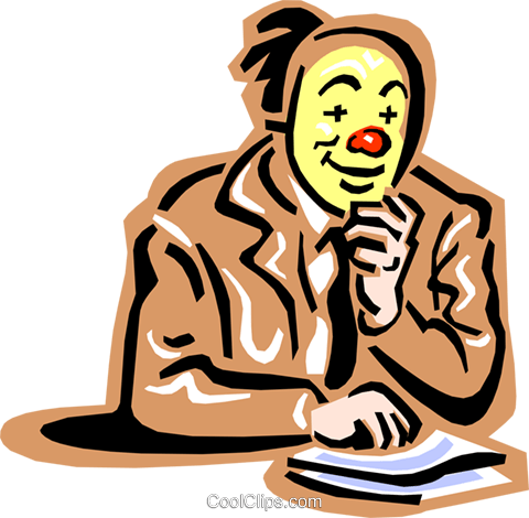 office clown Royalty Free Vector Clip Art illustration peop2436