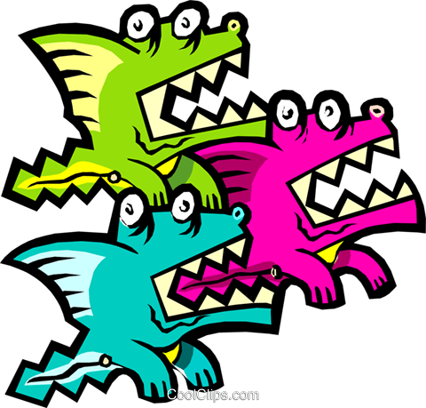 cartoon dragons Royalty Free Vector Clip Art illustration anim1607