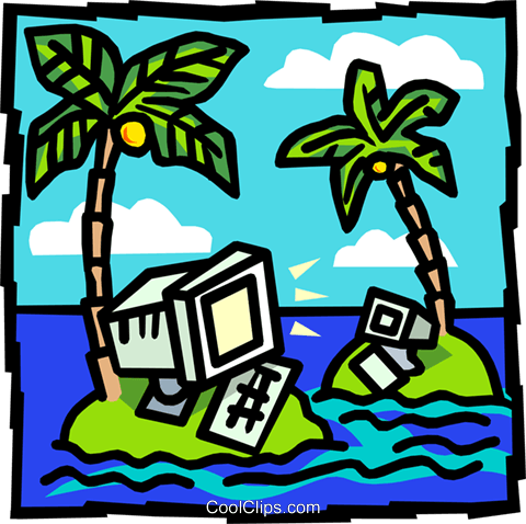 Computers on deserted islands Royalty Free Vector Clip Art illustration busi1438