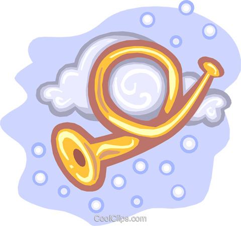 bugle in clouds Royalty Free Vector Clip Art illustration ente0019