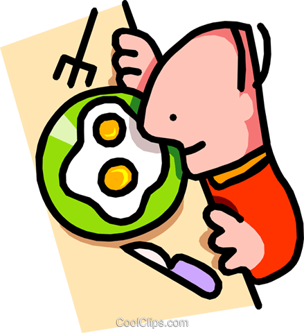 man about to eat breakfast Royalty Free Vector Clip Art illustration food0858