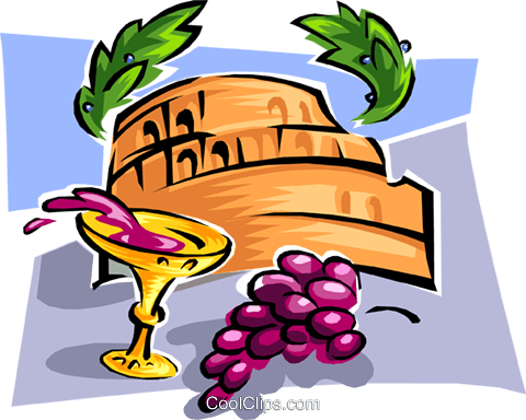 wine and grapes Royalty Free Vector Clip Art illustration food0864