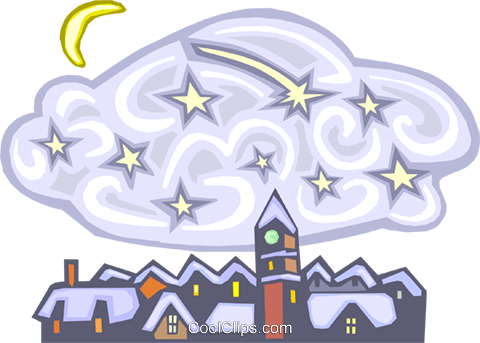 winter town at night Royalty Free Vector Clip Art illustration natu0764