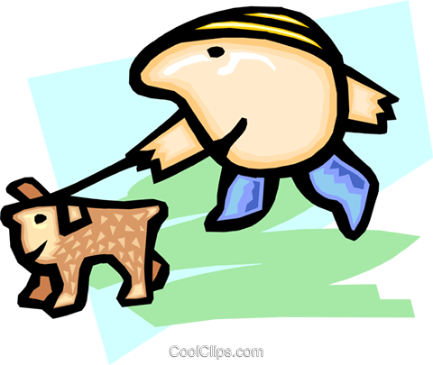 walking the dog - cartoon Royalty Free Vector Clip Art illustration peop2457