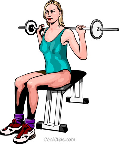 Woman using barbell Royalty Free Vector Clip Art illustration peop2468