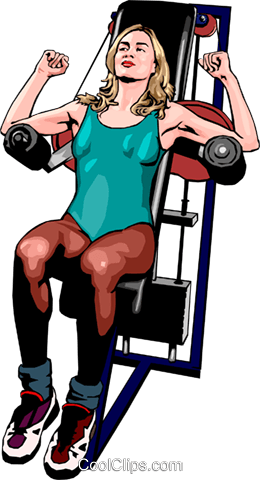 woman using weight machine Royalty Free Vector Clip Art illustration peop2469