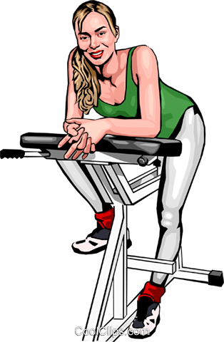 Woman on exercise bike Royalty Free Vector Clip Art illustration peop2471