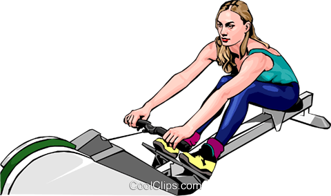 woman using rowing machine Royalty Free Vector Clip Art illustration peop2475