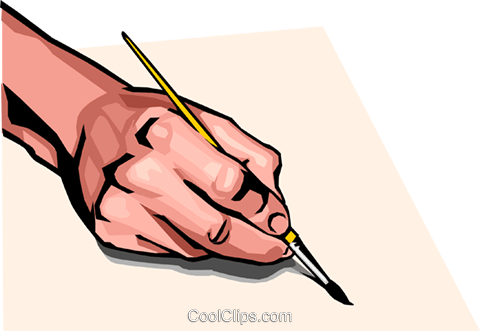 hand with paint brush Royalty Free Vector Clip Art illustration peop2476